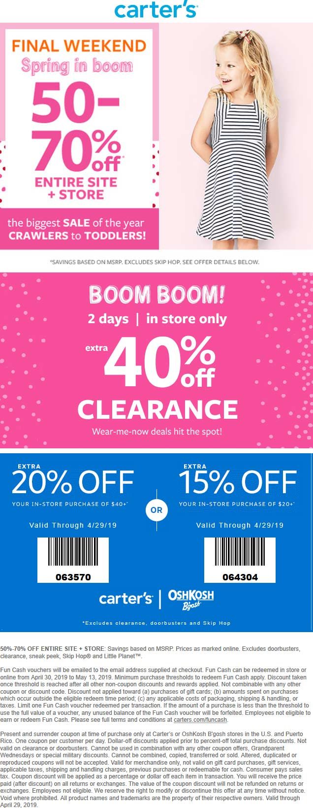 Carters Coupon May 2019 65-90% off everything & more at Carters