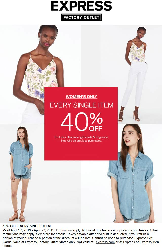 Express Factory Outlet Coupon November 2019 40% off womens at Express Factory Outlet