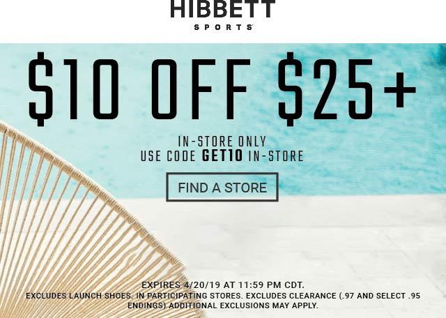 Hibbett Sports Coupon January 2020 $10 off $25 at Hibbett Sports