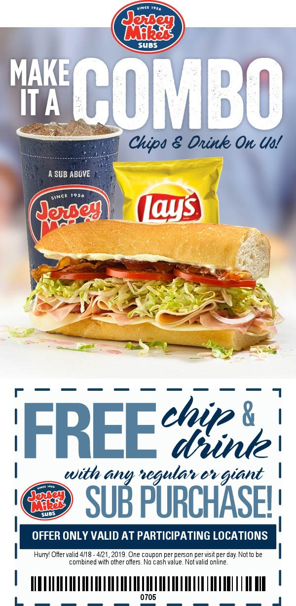 JerseyMikes.com Promo Coupon Free chips & drink with your sandwich at Jersey Mikes