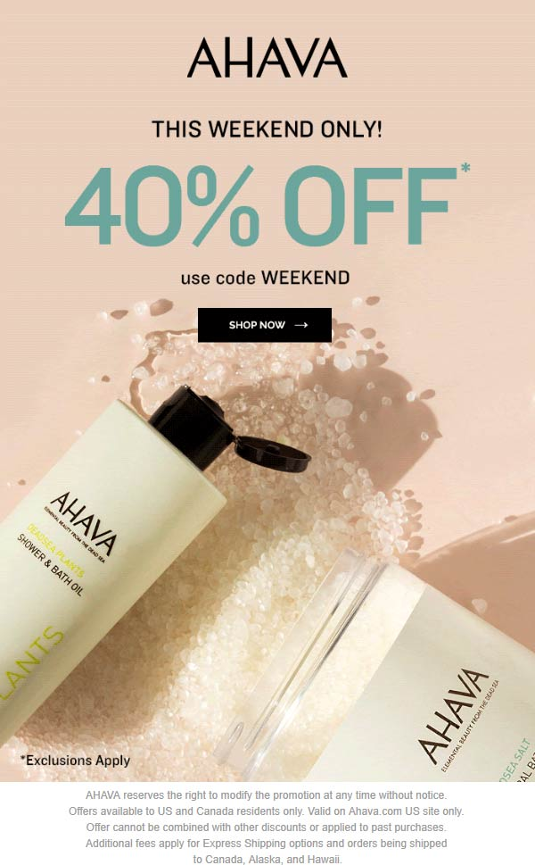 AHAVA Coupon July 2019 40% off online at AHAVA via promo code WEEKEND
