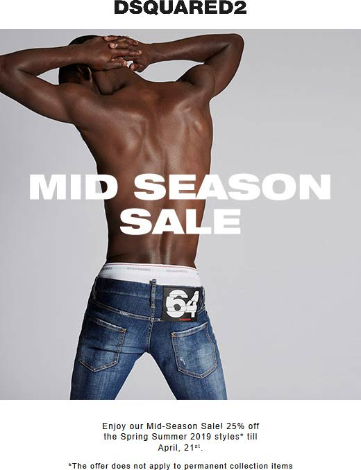 Dsquared2 Coupon November 2019 25% off Spring Summer styles at Dsquared2