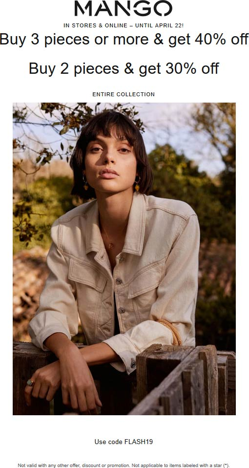 Mango Coupon July 2019 30-40% off a couple items at Mango, or online via promo code FLASH19