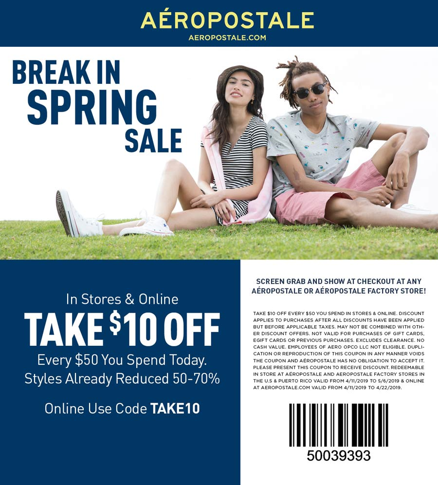 Aeropostale.com Promo Coupon $10 off $50 at Aeropostale, or online via promo code TAKE10