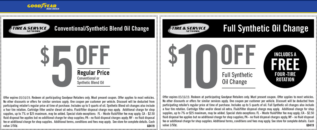 Goodyear Coupon January 2020 $5-$10 off an oil change at Goodyear