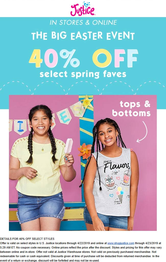 Justice Coupon November 2019 40% off Spring faves at Justice, ditto online