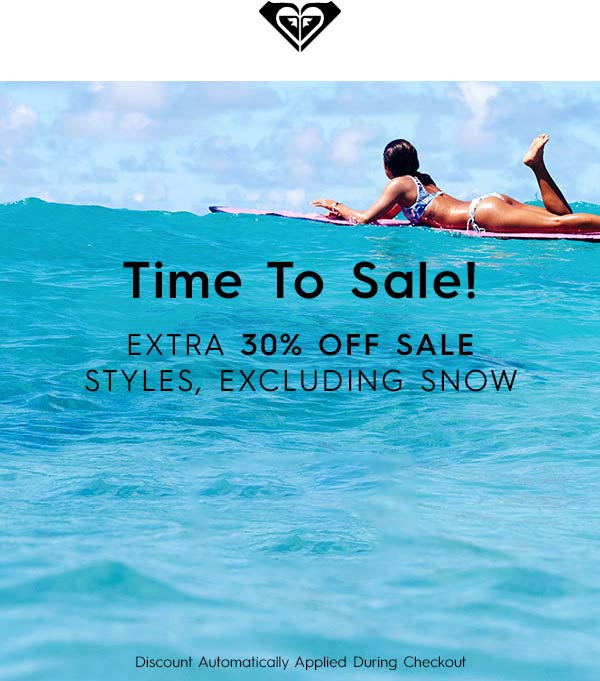 Roxy Coupon June 2019 Extra 30% off sale items online at Roxy