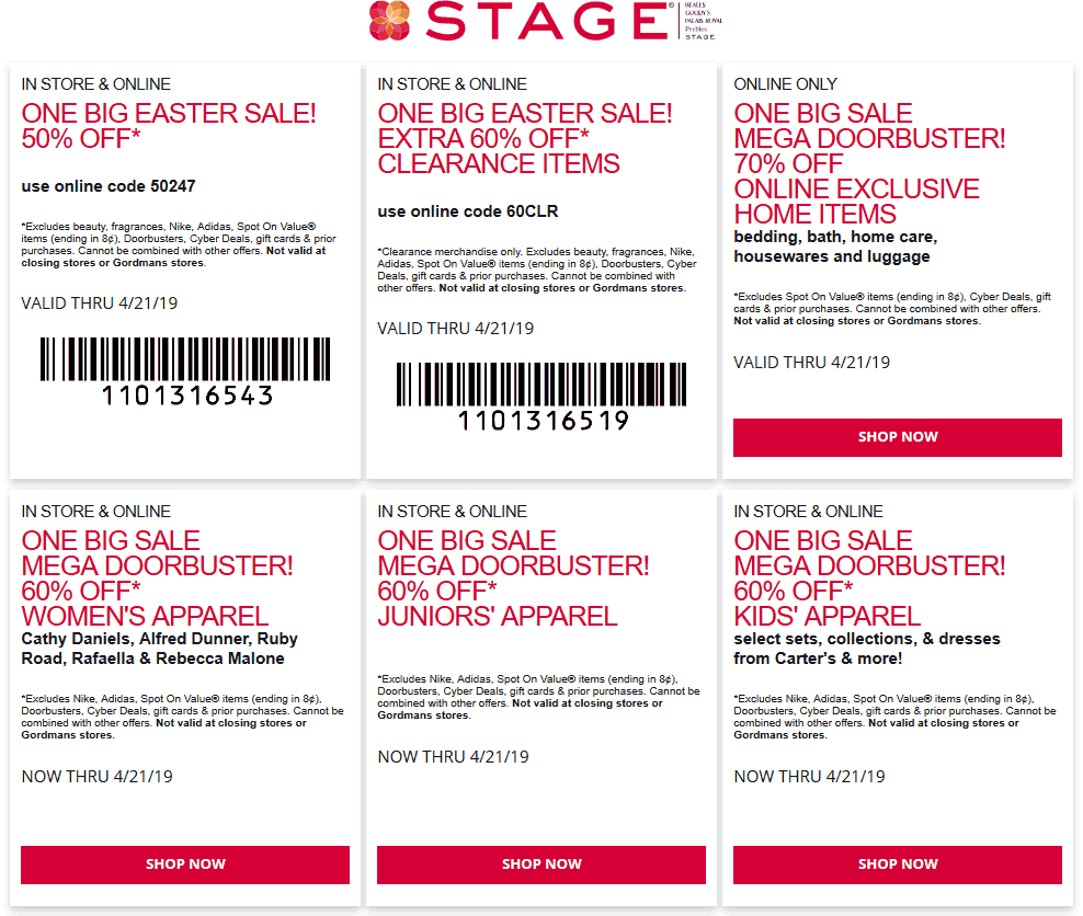 Stage.com Promo Coupon 50% off today at Stage, or online via promo code 50247