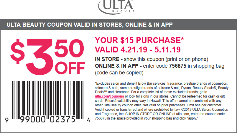 Ulta.com Promo Coupon $3.50 off $15 at Ulta Beauty, or online via promo code 756875