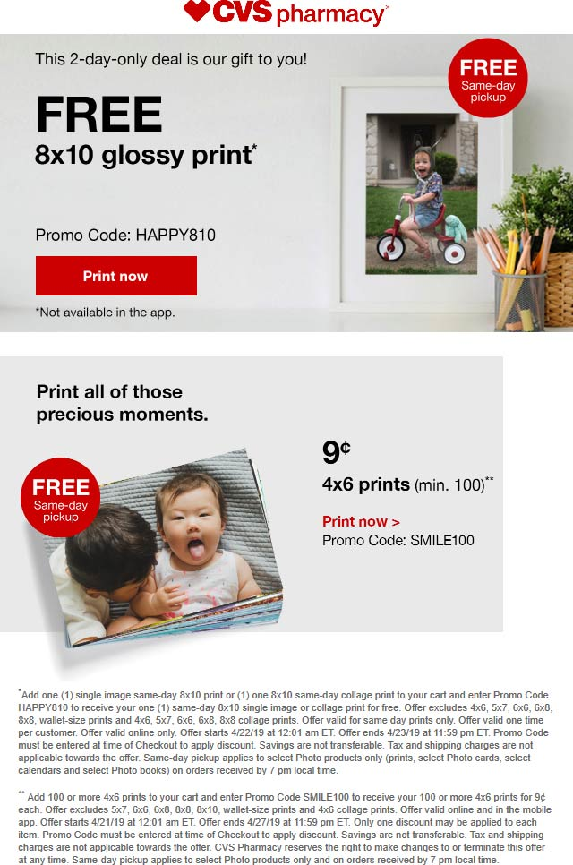 CVS Pharmacy Coupon September 2019 Free 8x10 print at CVS Pharmacy via promo code HAPPY810