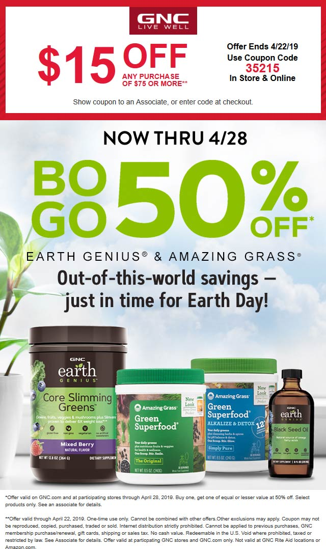 GNC coupons & promo code for [April 2020]