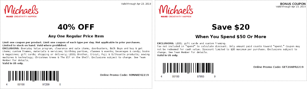 Michaels.com Promo Coupon 40% off a single item at Michaels, or online via promo code 40MAKE422219