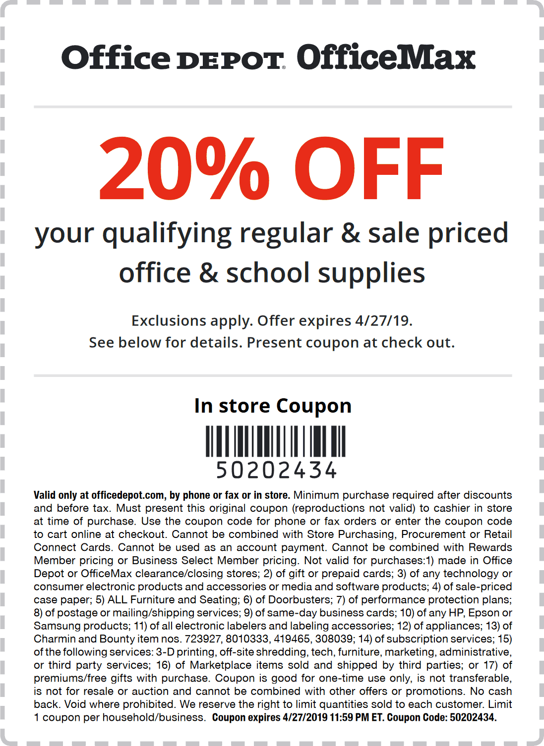 Office Depot Coupon June 2019 20% off at Office Depot & OfficeMax, or online via promo code 50202434