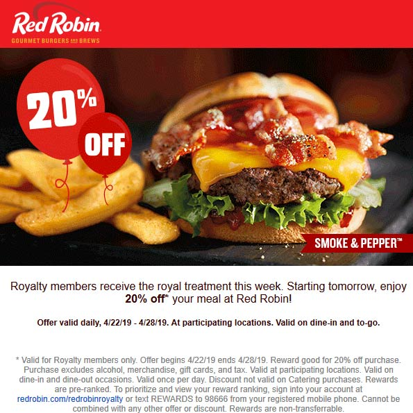 Red Robin Coupon November 2019 20% off at Red Robin restaurants