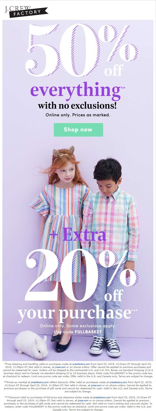 J.CrewFactory.com Promo Coupon 70% off everything online at J.Crew Factory via promo code FULLBASKET