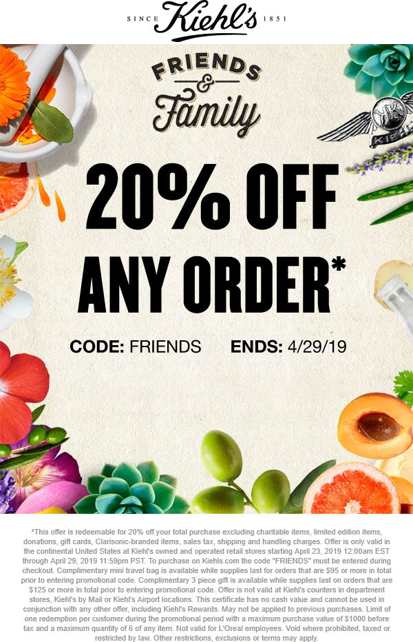 Kiehls Coupon July 2020 20% off at Kiehls, or online via promo code FRIENDS