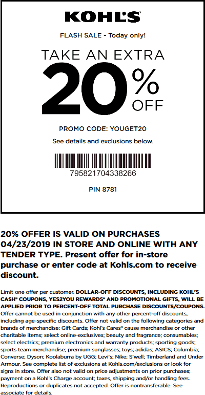 Kohls.com Promo Coupon Extra 20% off today at Kohls, or online via promo code YOUGET20