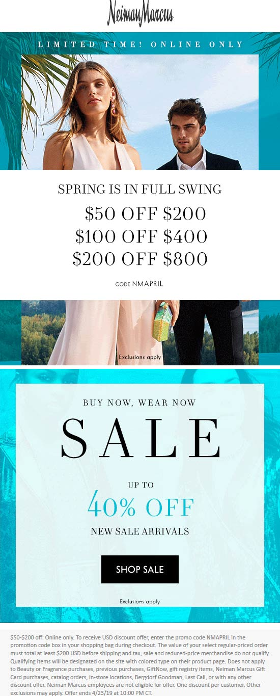 Neiman Marcus Coupon January 2020 $50 off $200 & more online today at Neiman Marcus via promo code NMAPRIL