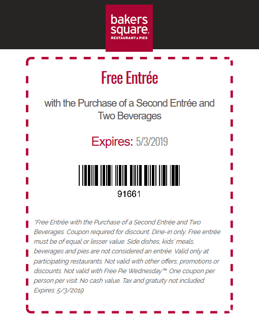 Bakers Square Coupon September 2019 Second entree free at Bakers Square