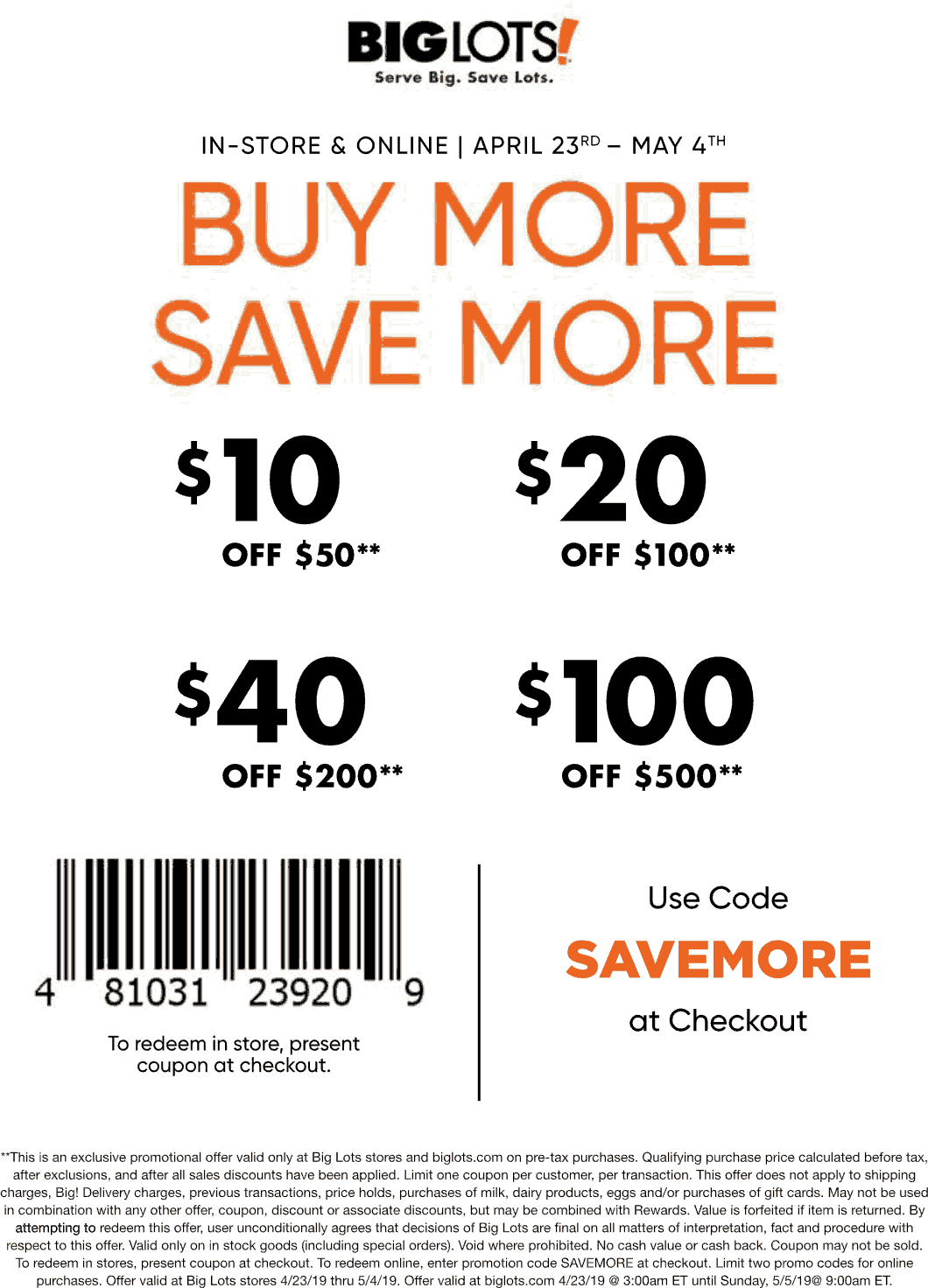 BigLots.com Promo Coupon $10 off $50 & more at Big Lots, or online via promo code SAVEMORE