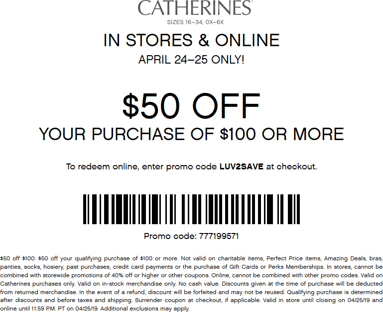 Catherines coupons & promo code for [January 2021]