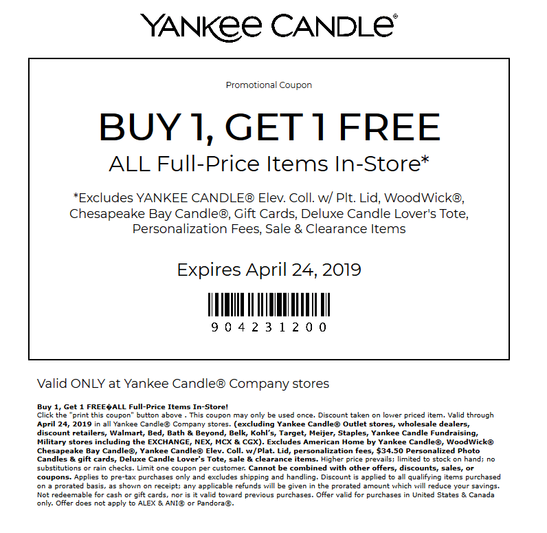 Yankee Candle Coupon February 2020 Second item free today at Yankee Candle