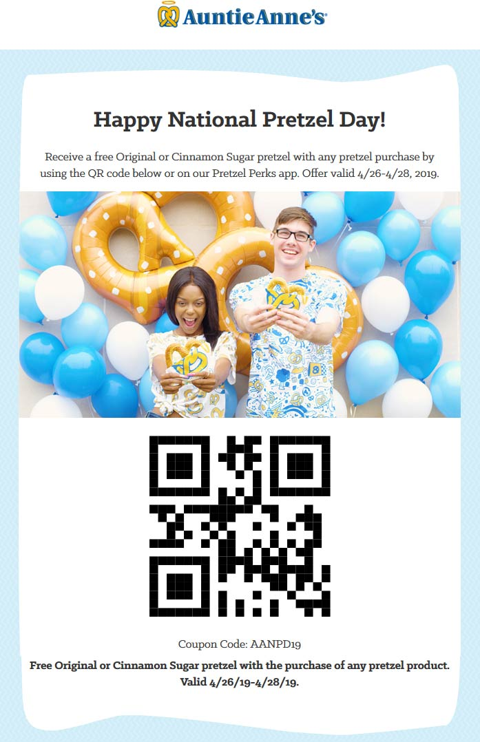 AuntieAnnes.com Promo Coupon Second pretzel free at Auntie Annes