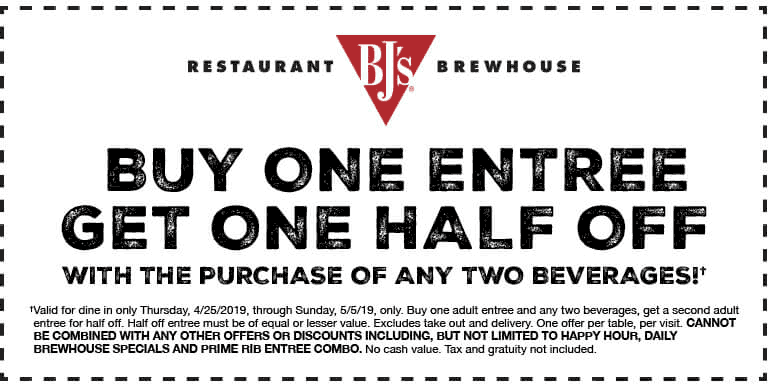 BJs Restaurant Coupon November 2019 Second entree 50% off at BJs Restaurant