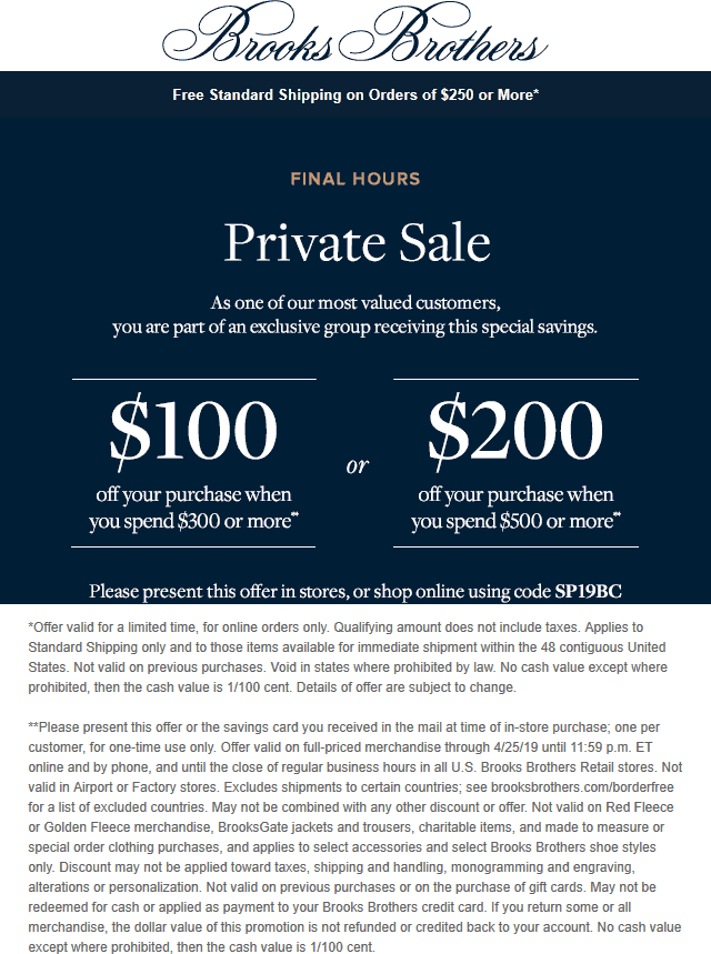 Brooks Brothers Coupon May 2019 $100 off $300 & more today at Brooks Brothers, or online via promo code SP19BC