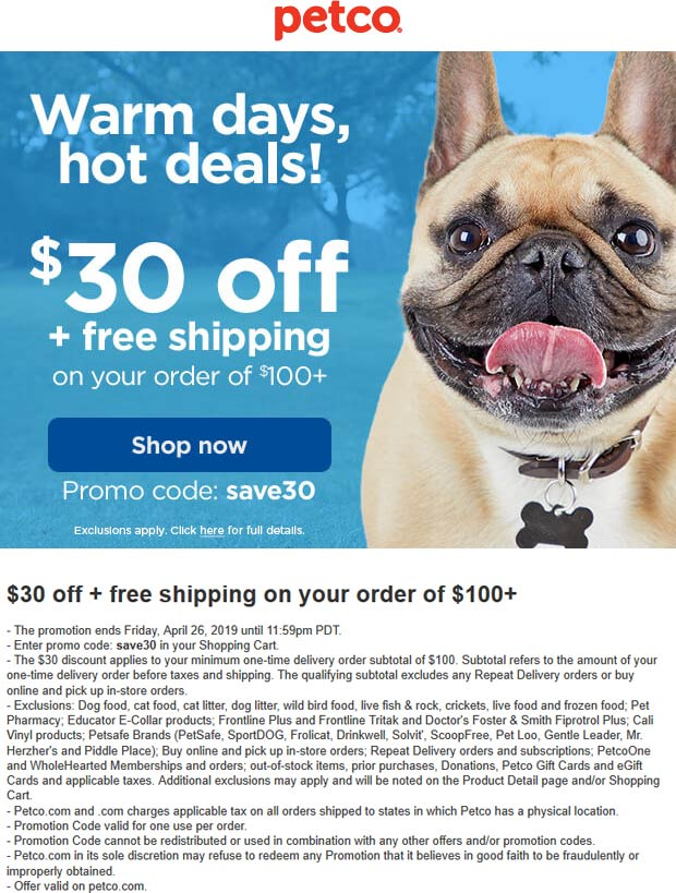 Petco.com Promo Coupon $30 off $100 online at Petco via promo code SAVE30