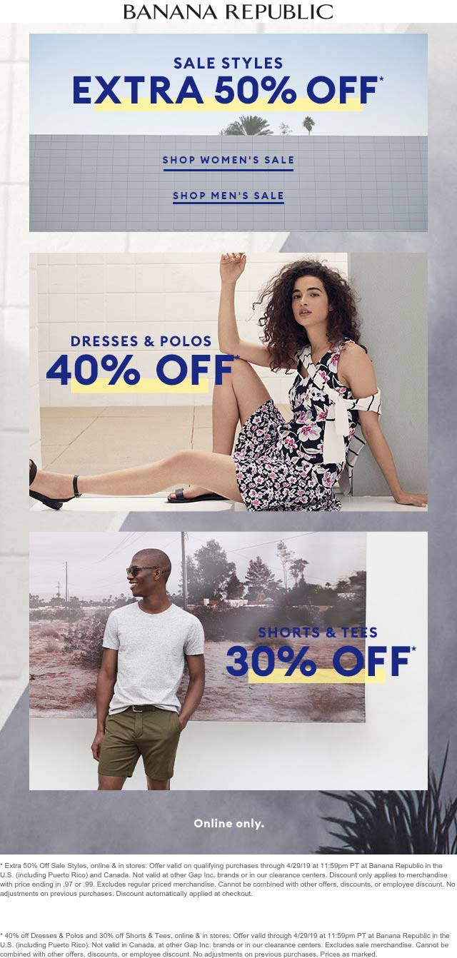 Banana Republic Coupon May 2019 Extra 50% off sale items at Banana Republic, ditto online