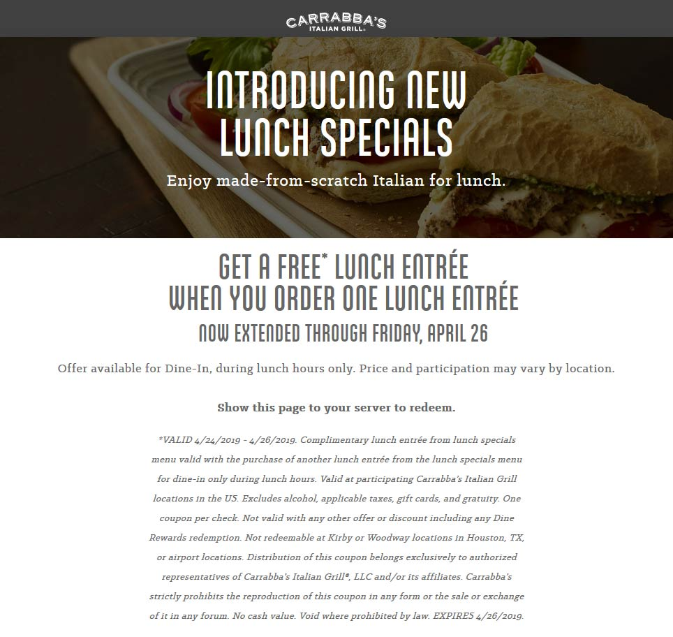 Carrabbas Coupon August 2019 Second lunch free today at Carrabbas