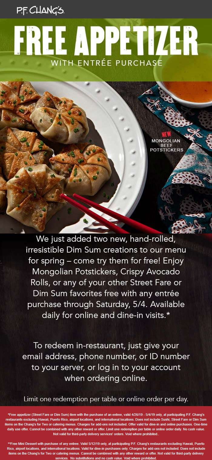 P.F. Changs Coupon December 2019 Free appetizer with your entree at P.F. Changs