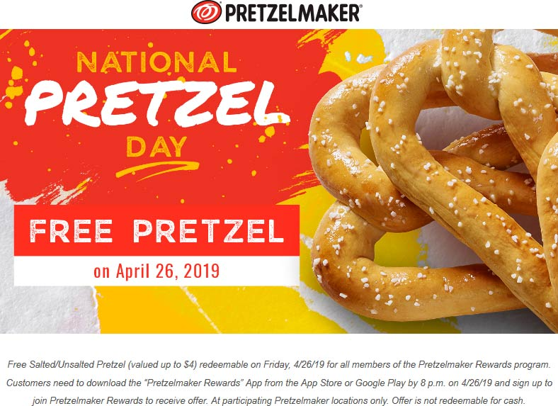 Pretzelmaker Coupon May 2019 Free pretzel today at Pretzelmaker