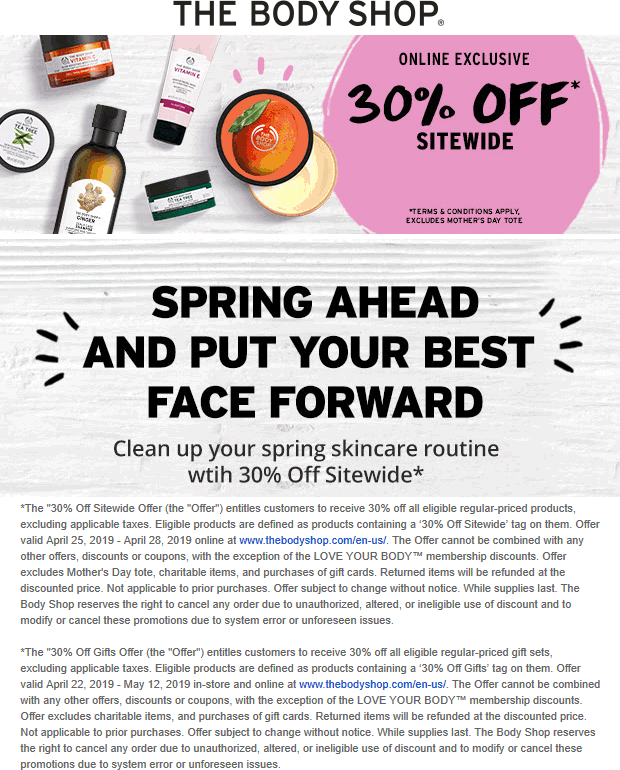 The Body Shop Coupon July 2019 30% off everything online at The Body Shop