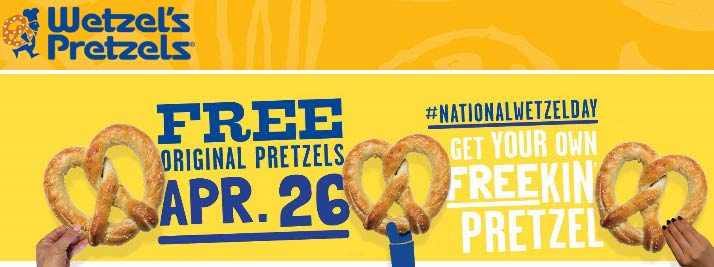 Wetzels Pretzels Coupon October 2019 Free pretzel today at Wetzels Pretzels