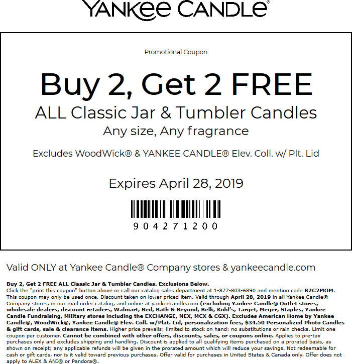 Yankee Candle Coupon October 2019 4-for-2 at Yankee Candle, or online via promo code B2G2MOM
