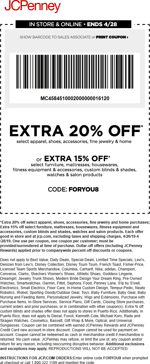JCPenney Coupon November 2019 Extra 20% off at JCPenney, or online via promo code FORYOU8