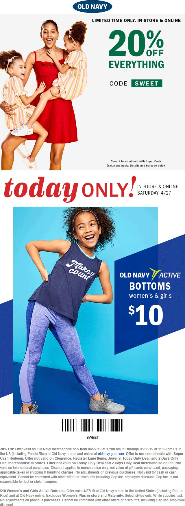 Old Navy Coupon May 2019 20% off everything at Old Navy, or online via promo code SWEET