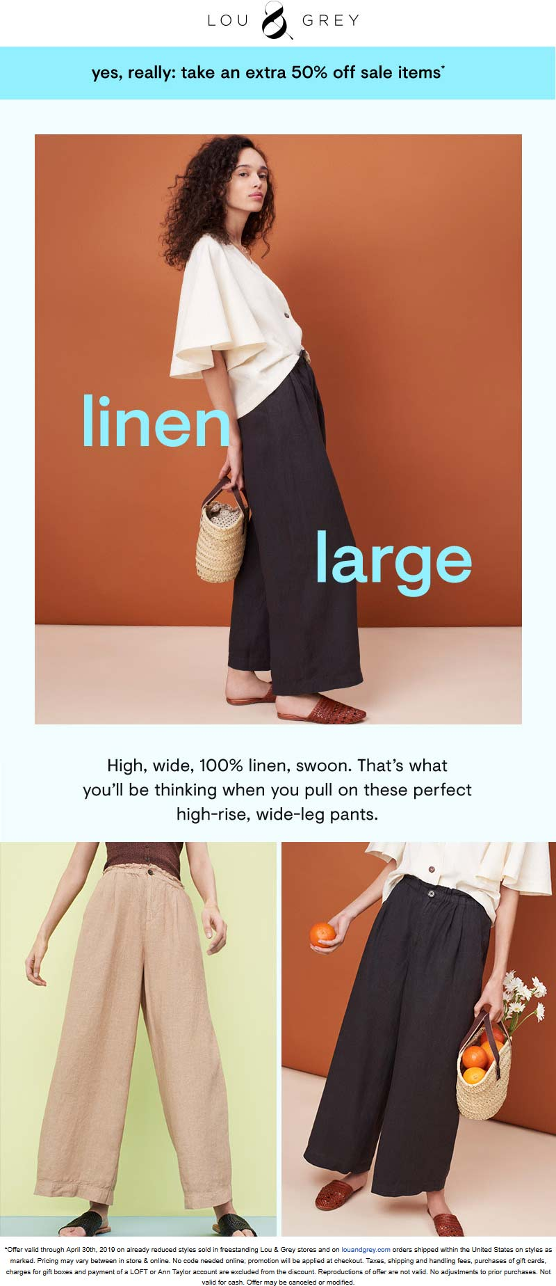 Lou & Grey Coupon June 2019 Extra 50% off sale items at Lou & Grey, ditto online