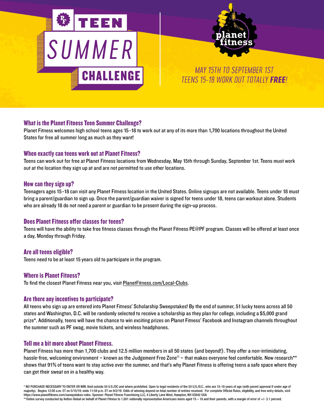 Planet Fitness Coupon September 2019 Teens are free this summer at Planet Fitness