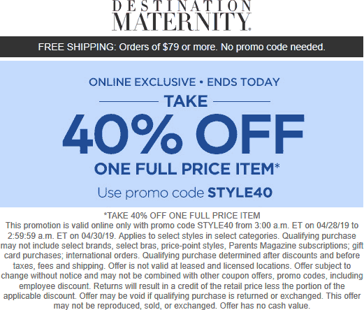 Destination Maternity coupons & promo code for [April 2021]