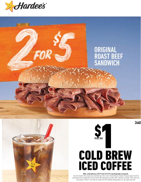 Hardees Coupon November 2019 2 roast beefs = $5 + $1 iced coffee at Hardees restaurants