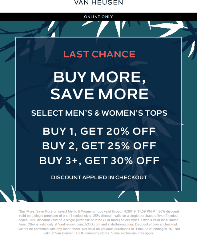 Van Heusen Coupon November 2019 20-30% off tops online today at Van Heusen, IZOD & styleBureau, no code needed