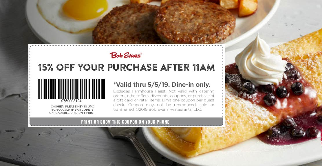 Bob Evans Coupon August 2019 15% off after 11am at Bob Evans restaurants
