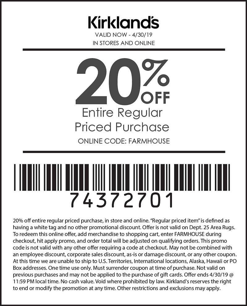 Kirklands coupons & promo code for [April 2021]