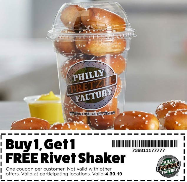 Philly Pretzel Factory Coupon November 2019 Second rivet shaker free today at Philly Pretzel Factory