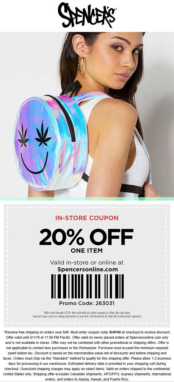 Spencers Coupon January 2020 20% off a single item at Spencers, or online via promo code 263031