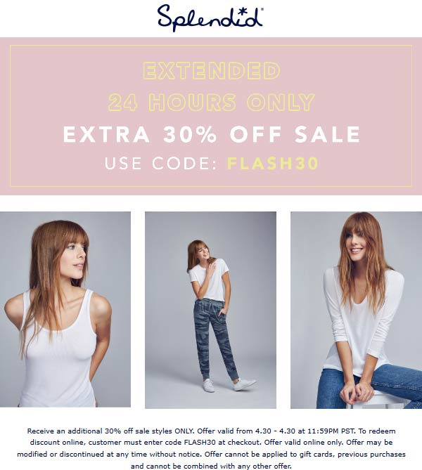 Splendid.com Promo Coupon Extra 30% off sale items online today at Splendid via promo code FLASH30