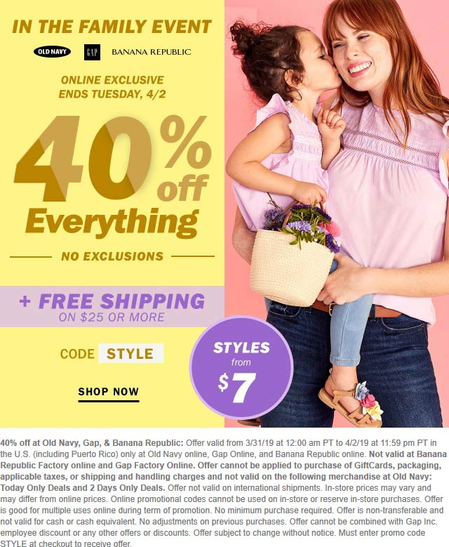 Banana Republic Coupon February 2020 40% off everything online at Old Navy, Gap & Banana Republic via promo code STYLE